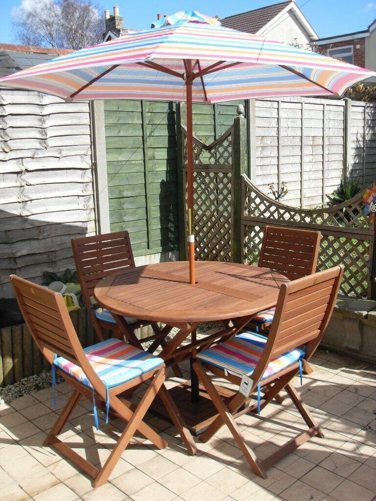 peru 4 seater wooden garden furniture set with folding chairs parasol parasol base