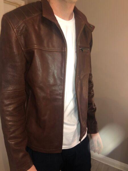 mens leather vintage brown black slimfit genuine biker jacket  for sale  Derby, Derbyshire
