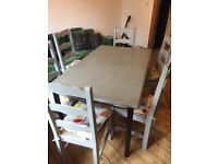 Solid large dining table and 6 chairs farmhouse/distressed style