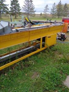 "Heavy Duty 24"" Wide x 19 ft long Belt Conveyor with angled loading hopper with single phase 220v electric drive"