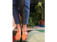 Woven leather clogs by Funks