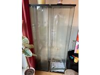 3 x Dark brown Detolf display cabinets and lights