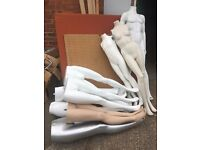Mannequin parts ideal for students and artists. Arms,legs,torsos, dummies on stands,hanging forms