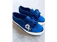 ASOS size 5 blue satin canvas / plimsoll shoes