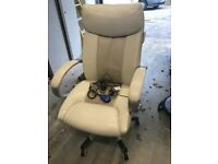 Cream coloured leather managers style massaging office chair