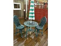 Table and two chairs.vintage style.in strong plastic..