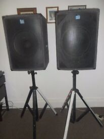 400W Bass Speakers Cabinet & Stands pair DJ Band NJD Grey Carpeted N15400B