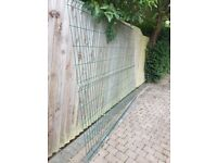 10 PVC green coated wire fence panels 8X6 nearly new condition