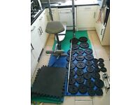 125.5kg barbell, dumbbell & cast iron weights set with bench press & mats (dumbell, squat, rack)