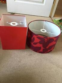 Lampshades (red) £3 for both