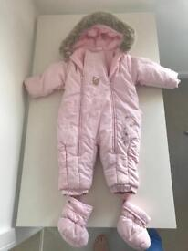 Gorgeous pink baby girl snowsuit 9months