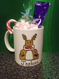 Personalised Christmas Mugs with Candy Cane, Hot Chocolate and Marshmallows