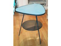 IKEA metal and glass triangular bedside table