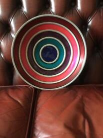 GLASS AND METAL BOWL ,FANTASTIC COLOURS