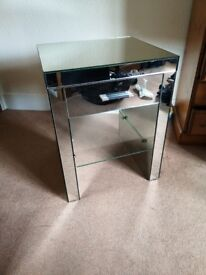 Next glass mirrored side table