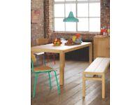 Habitat Radius 6 Seat Solid Oak Dining Table & Two 3 Seater Solid Oak Radius Dining Benches
