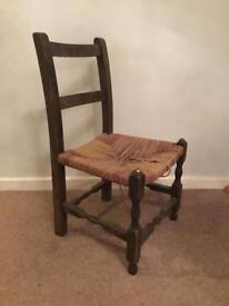 Antique nursing child's chair woven seat