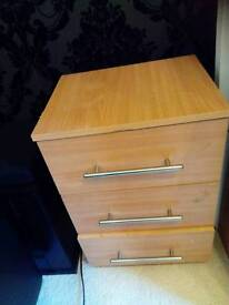 3 door bedside cabinet with silver handles
