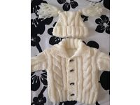 New Aran cardigan and hat set size 0-3 months