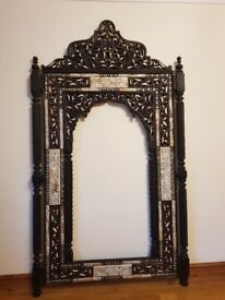 Moroccan hand crafted wood , metal and bone mirror