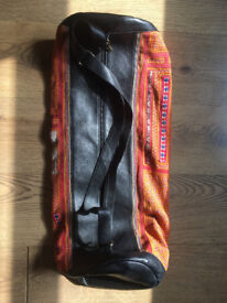 Yoga Mat Bag - Black leather and Antique Tribal Thai Fabric