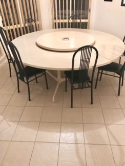 Dining table with 7 chairs and lazy susan