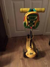 Yellow scooter with bag