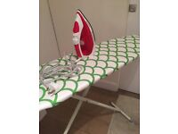 Russell Hobbs Steamglide iron, 2600W red & white, with ironing board