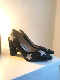 Women's Black Heels with Silver Stars UK6