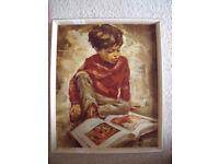 Vintage Boyhood Joys,R Van Cleef framed print.Framed by Haigh & Sons Ltd, Southall, Middx. £25 ovno.