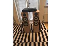 Eltax symphony 8.3 115watt floor standing speaks & Cambridge Audio Topaz A1M-B amplifier