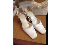 Ivory satin shoes and bag