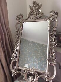 Rococo style distressed gold mirror