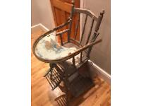 Old wooden baby's high chair