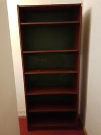 Deep brown bookshelf