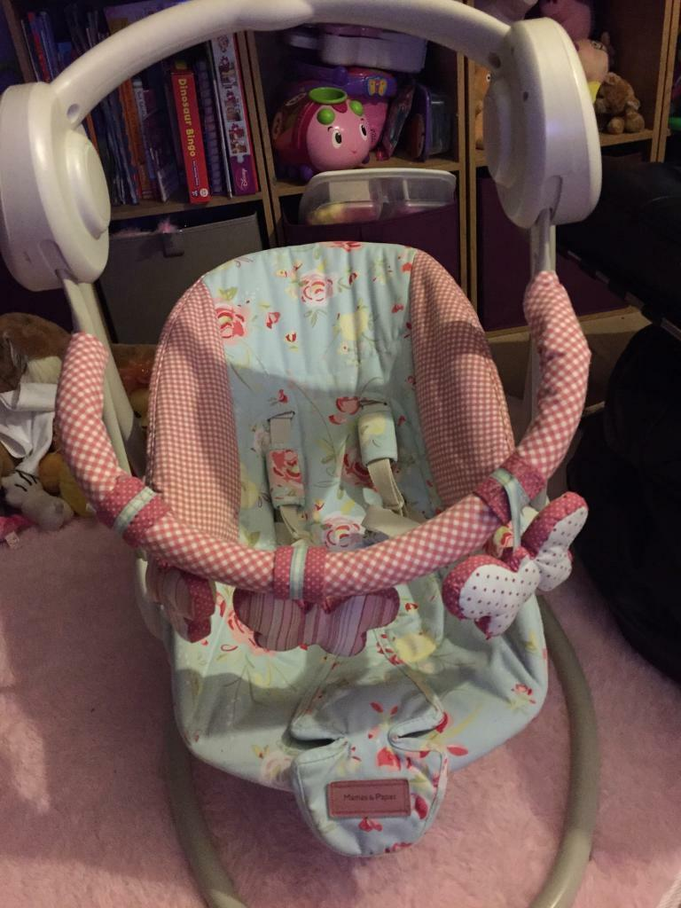 Mamas and Papas swinging chairin Mattishall, NorfolkGumtree - Gorgeous mamas and papas swinging baby chair in a lovely Cath Kidston print. Swings and plays music. Seat can be adjusted so can be used by young babies. From a smoke and pet free home. Collection from Scarning, Dereham