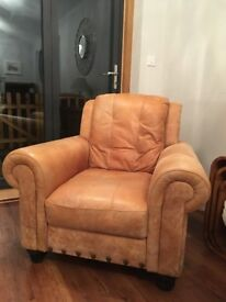 Vintage looking Tan 100% pure leather arm chair