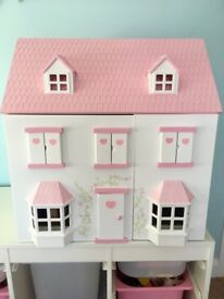 Wooden Dolls House, furniture and 4 figures