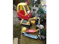 Little tikes coup car £20,JCB Digger £15, Clone wars scooter&Little tikes scooter £10 for both