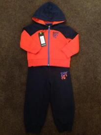 BRAND NEW Navy/Orange Carbrini Tracksuit Age 2-3 Years / 24-36 Months