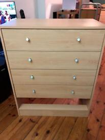 4 CHEST OF DRAWERS BEECH EFFECT