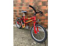 Raleigh red kids bike / BMX - 16 inch wheels - age 4 to 6 - old school