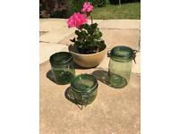 Rustic French Solidex green jars