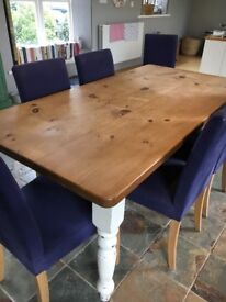 Attractive Farmhouse Pine Table with painted cream legs and wooden top
