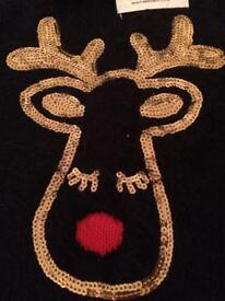 Girls fluffy reindeer Christmas jumper