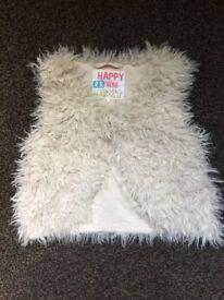 Fur cream waistcoat
