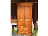 Solid oak wardrobe with two drawers - good condition