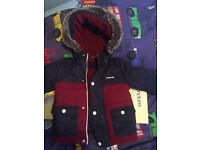 Toddlers boys Mckenzie navy & red coat with fur hood