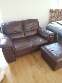 Leather Sofa and (storage) footstool