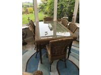 Conservatory dining table and six chairs